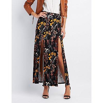 Floral Double Slit Maxi Skirt