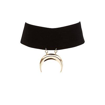 Plus Size Velvet Crescent Choker Necklace