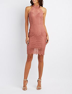 Lace Halter Bodycon Dress