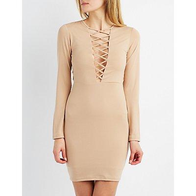 Lattice-Trim Bodycon Dress