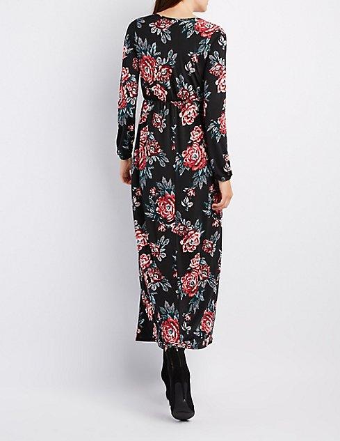 Floral Surplice Maxi Dress | Charlotte Russe