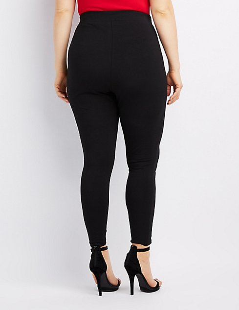 Plus Size Lace-Up High-Rise Leggings | Charlotte Russe