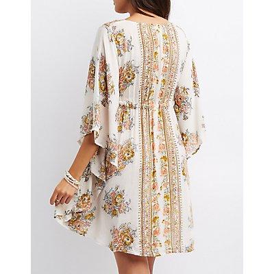Floral Drawstring Kaftan Dress