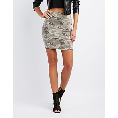 Camo Bodycon Mini Skirt