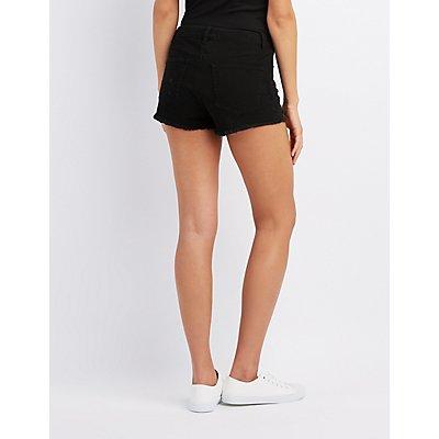 Refuge Hi-Rise Lace Up Denim Shorts