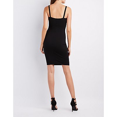 Mesh-Trim Plunging Bodycon Dress