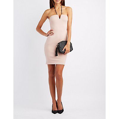 Halter Notched Bodycon Dress