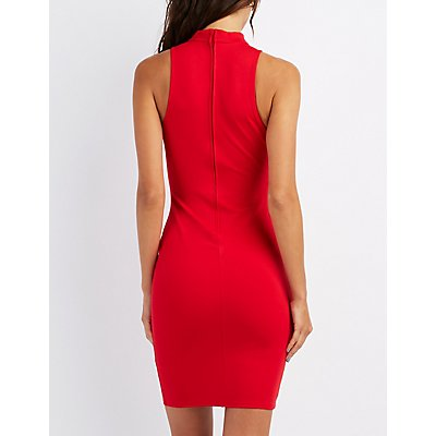Mock Neck Caged O-Ring Bodycon Dress