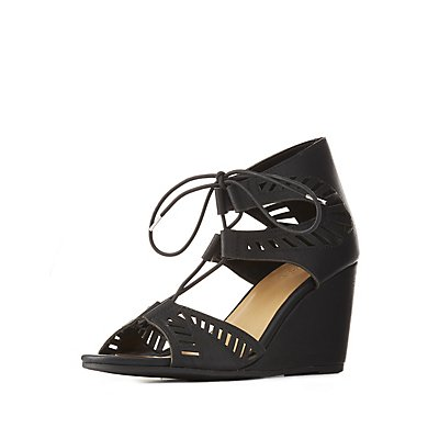 Laser Cut Lace-Up Wedge Sandals
