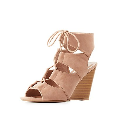 Lace-Up Slingback Wedge Sandals