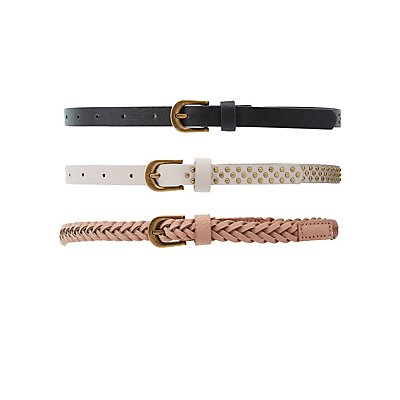Faux Leather Belts - 3 Pack