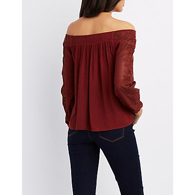 Embroidered-Trim Off-The-Shoulder Top