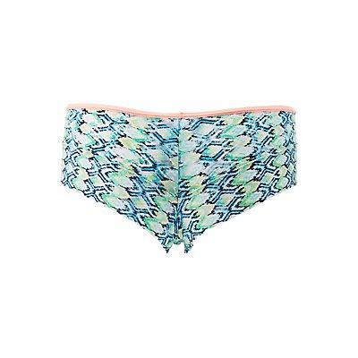 Printed Lace Cheeky Panties