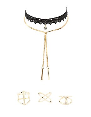 Chainlink Necklace, Choker & Caged Rings Set