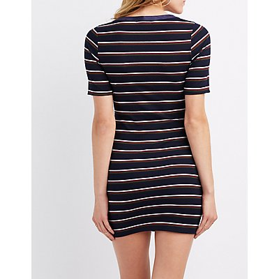 Striped Henley Bodycon Dress