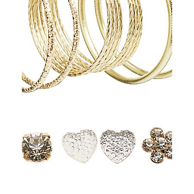 Embellished Hoop & Stud Earrings Set