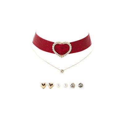 Embellished Choker Necklaces & Earrings Set