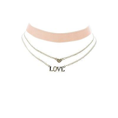 Velvet & Embellished Chainlink Choker Necklaces - 3 Pack