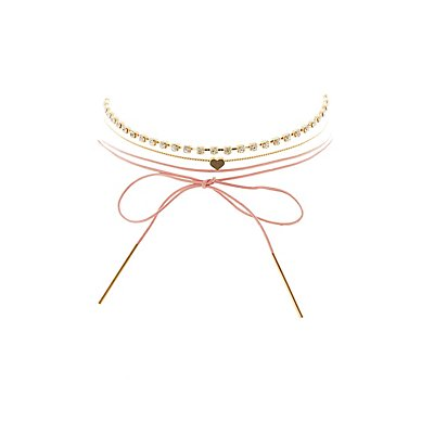 Embellished & Wrapped Choker Necklaces - 3 Pack