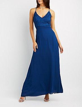 Lace & Chiffon Strappy Maxi Dress