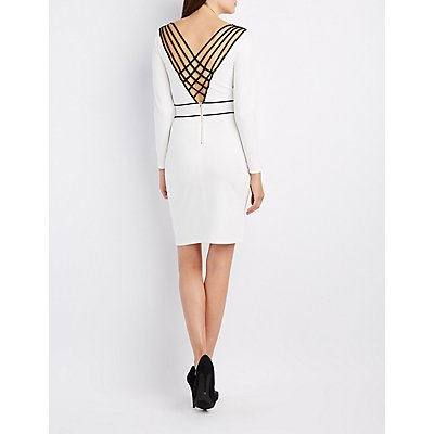 Two-Tone Lattice Bodycon Dress
