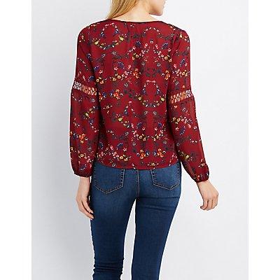 Floral Crochet-Trim Blouse