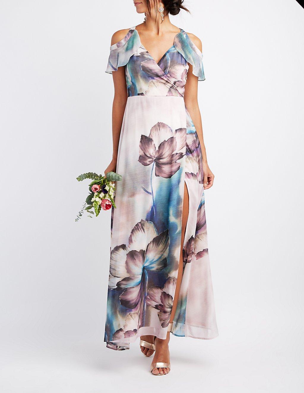 Floral Surplice Cold Shoulder Maxi Dress | Charlotte Russe