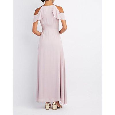 Surplice Cold Shoulder Maxi Dress
