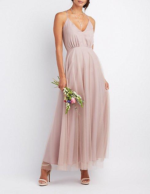 Tulle V-Neck Maxi Dress | Charlotte Russe