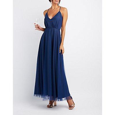 Tulle V-Neck Maxi Dress