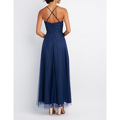 Tulle V-Neck Maxi Dress