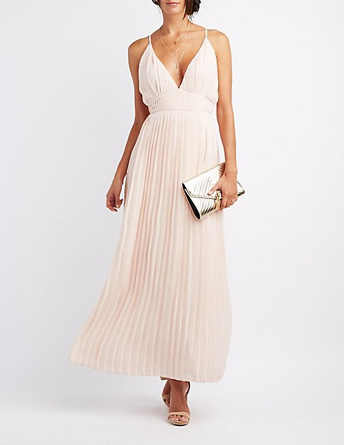 Pleated V-Neck Maxi Dress | Charlotte Russe