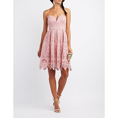 Lace Sweetheart Strapless Dress