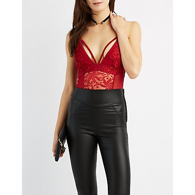 Caged Lace & Mesh Bodysuit
