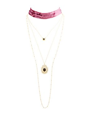 Velvet Choker & Layered Chainlink Necklace - 2 Pack