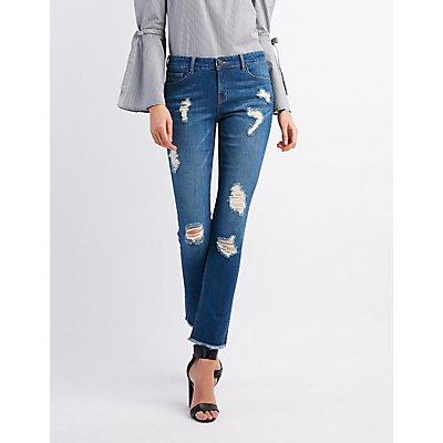 Refuge Distressed Frayed Hem Skinny Jeans