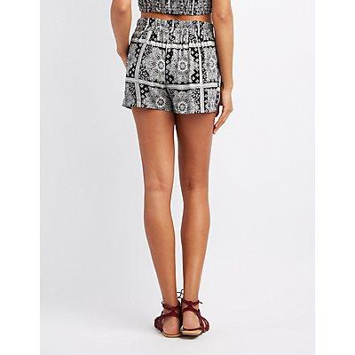 Printed Tied-Waist Shorts