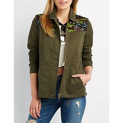 Sequin Embellished Anorak Jacket