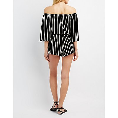 Striped Off-The-Shoulder Romper