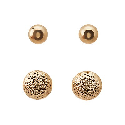 Textured Stud & Hoop Earrings - 3 Pack