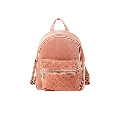 Velvet Quilted Mini Backpack