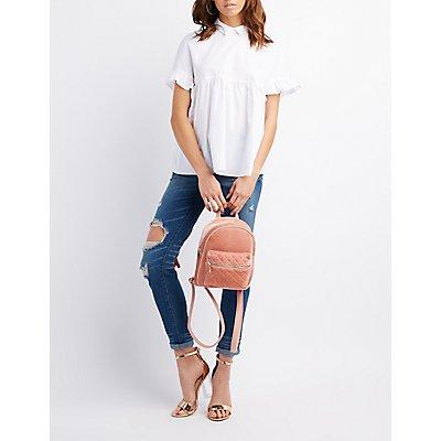 Velvet Quilted Mini Backpack