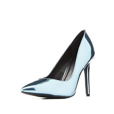 Qupid Metallic Pointed Toe Pumps