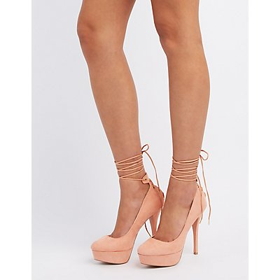 Qupid Lace-Up Platform Pumps