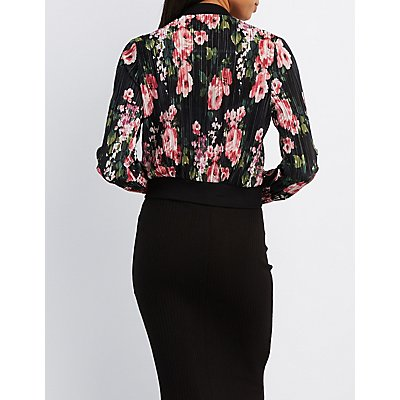 Floral Micro Pleated Bomber Jacket