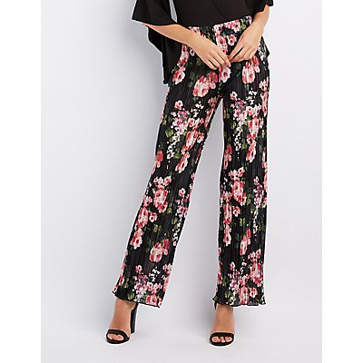 Floral Micro Pleated Palazzo Pants