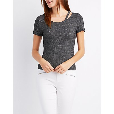 Ribbed Cut-Out Neck Tee