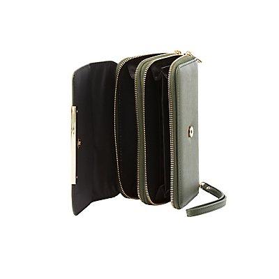 Gold-Tipped Double Zipper Wristlet Wallet
