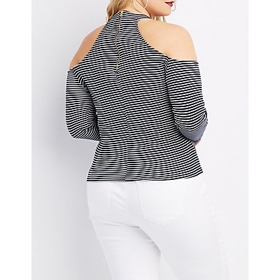 Plus Size Mock Neck Cold Shoulder Top