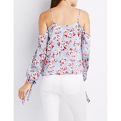 Floral Satin Cold Shoulder Top